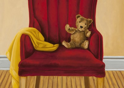 teddy bear red chair