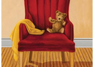 Red Chair with Teddy Paper Coaster
